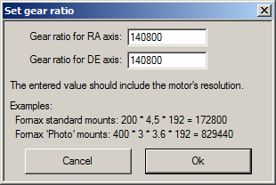 Setting the gear ratio in MCConfig.