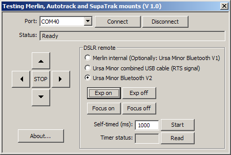 Program for testing the Merlin mounts and the Ursa Minor Bluetooth interface